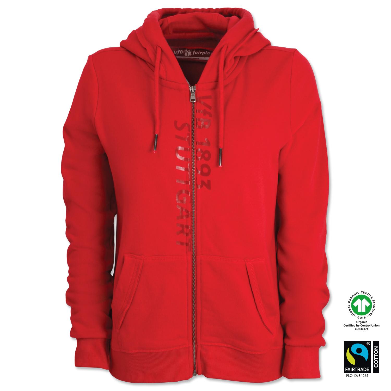 Gots Women S Hooded Sweat Jacket Vfb Stuttgart Red Women Fashion Merchandise Shop Vfb De